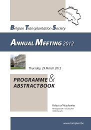 Programme and abstract book 2012 - Belgian Transplantation Society