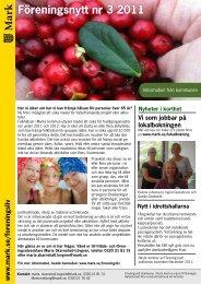 Föreningsnytt nr 3 2011 - Marks kommun