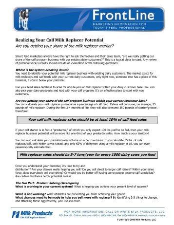 M.16e Realizing Your Calf Milk Replacer Potential - Sav-A-Caf Milk ...