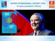 President for en Rotary klubb - Distrikt 2305