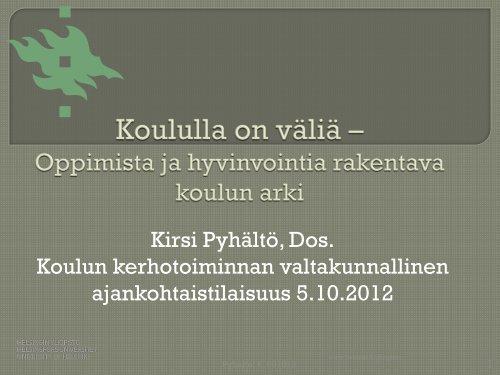 Oppimista ja hyvinvointia rakentava koulun arki - Edu.fi
