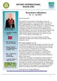 guvernørens månedsbrev nr. 11 for mai 2013 - Distrikt 2305
