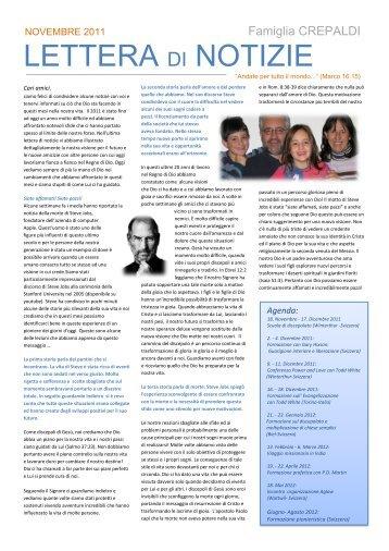 Lettera di Notizie Nov. 2011 - Life Share Network