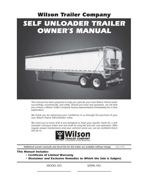 Owner's Manual - Wilson Trailer | Wilson Trailer Wiring Diagram |  | Yumpu