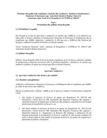 Plotësim i Rregullës mbi Auditimin e Jashtëm dhe Auditorët e ...