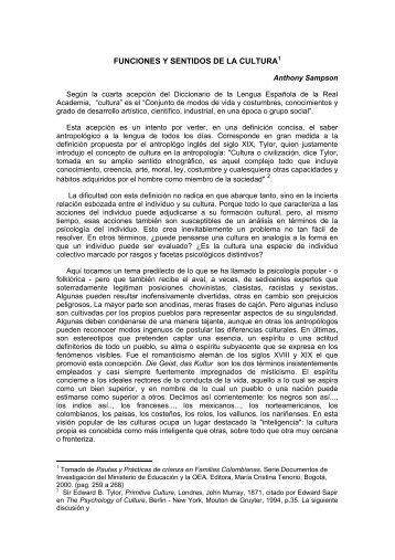 Funciones y Sentidos de la Cultura - Psicologiacultural.org