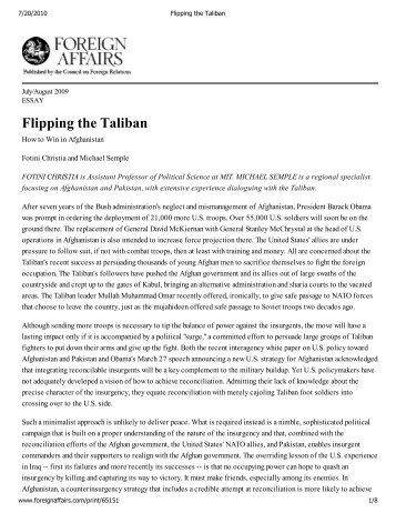 Flipping the Taliban - TerpConnect