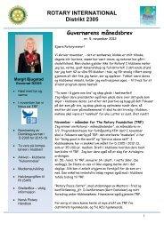 guvernørens månedsbrev nr. 5 for november 2012 - Distrikt 2305