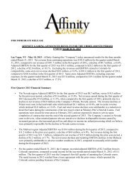 May 10, 2013 - Affinity Gaming