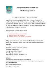Klikk her for å lese innvitasjonen - Distrikt 2305