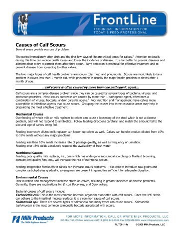 Causes of Calf Scours - Sav-A-Caf Milk Replacers from Milk Products