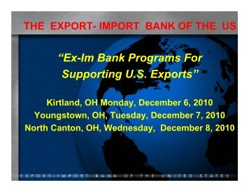 """""""Ex-Im Bank Programs For Supporting U.S. Exports"""""""