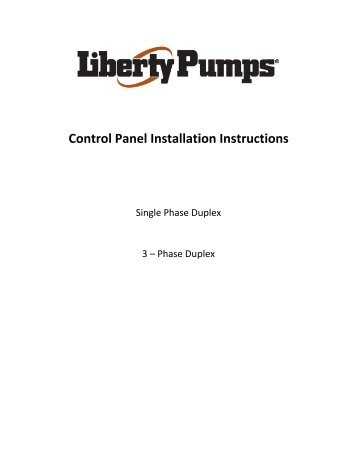 Control Panel Ins tallati ion Ins structi ions - Liberty Pumps
