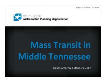 Transit Academy   March 21, 2012 - Nashville Area MPO