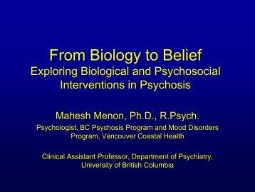 Mahesh Menon – Biology to Beliefs - British Columbia ...