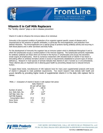 Vitamin E in Calf Milk Replacers - Sav-A-Caf Milk Replacers from ...