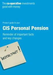 CIS Personal Pension - The Co-operative Insurance