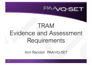 NSA Evidence and assement requirements - Ramtuc