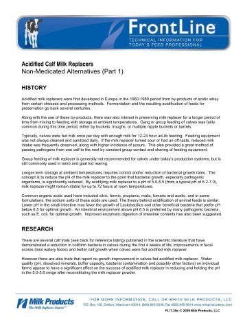 T.39e Acidified Calf Milk Replacers - Non-Medicated Alternatives