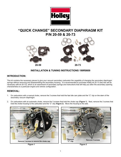 Holley 20-59 Vacuum Secondary Quick Change Kit