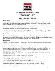 Carburetor Repair Kit Appl Chart