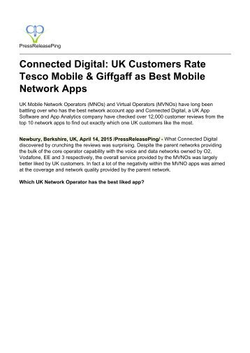 Connected Digital: UK Customers Rate Tesco Mobile & Giffgaff as Best Mobile Network Apps