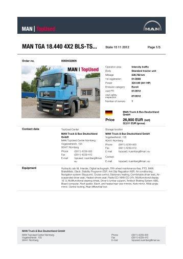 MAN TGA 18.440 4X2 BLS-TS... State 29 10 2012 -  MAN TopUsed