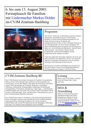 6. bis zum 13. August 2005: Ferienplausch für ... - Markus Dolder