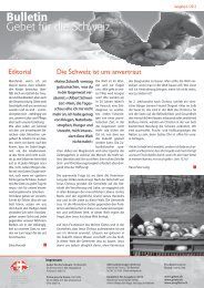 Editorial Die Schweiz ist uns anvertraut - Gebet für die Schweiz
