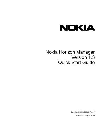 Nokia Horizon Manager Version 1.3 Quick Start Guide - Check Point