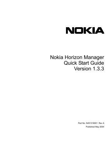 Nokia Horizon Manager Quick Start Guide v1.3.3 - Check Point