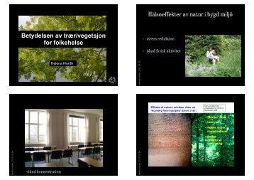 Betydelsen av trær/vegetsjon for folkehelse Hälsoeffekter ... - FAGUS
