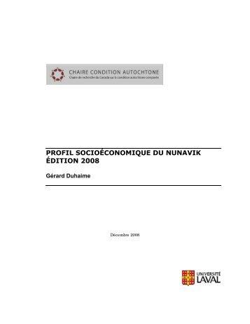 Profil socioéconomique du Nunavik, Édition 2008 - Chaire de ...