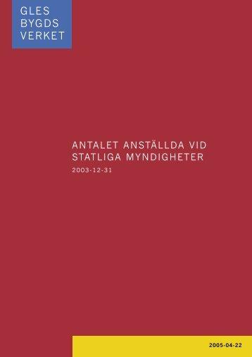 ANTALET ANSTÄLLDA VID STATLIGA MYNDIGHETER
