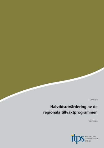 Halvtidsutvärdering av de regionala tillväxtprogrammen RTP