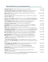 Selected Performances [pdf] - Karola Obermueller, composer