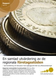 En samlad utvärdering av de regionala företagsstöden - Tillväxtanalys