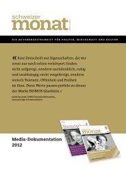 Media-Dokumentation 2012 - Schweizer Monat