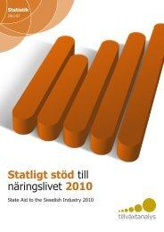 Statligt stöd till näringslivet 2010 - Tillväxtanalys