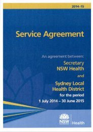 SLHD Service Agreement - Sydney Local Health District - NSW ...