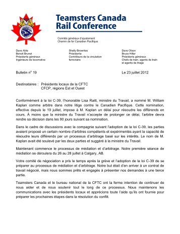 Bulletin n 19 Le 23 juillet 2012 Destinataires : Présidents ... - TCRC