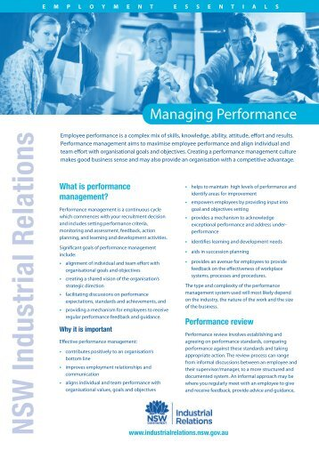 Employment essentials - Managing performance - Office of Industrial ...