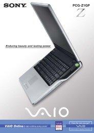 VAIO PCG-Z1GP (370KB) - Sony Style