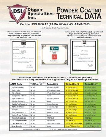 Powder Coating Technical/Data Brochure - Digger Specialties, Inc.