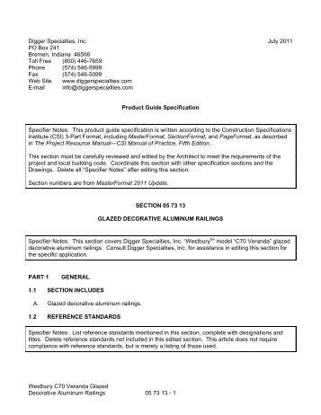 Westbury_C70_Veranda.. - Digger Specialties, Inc.
