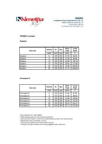 Yangın Yalıtım Malzemeleri Fiyat Listesi 2010 - Himerpa