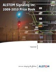 Pricebook 2009-2010 - ALSTOM Signaling Inc.