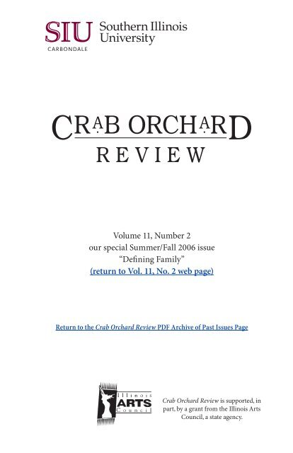 Crab Orchard Review Vol 11 No 2 Our Special Issue Defining