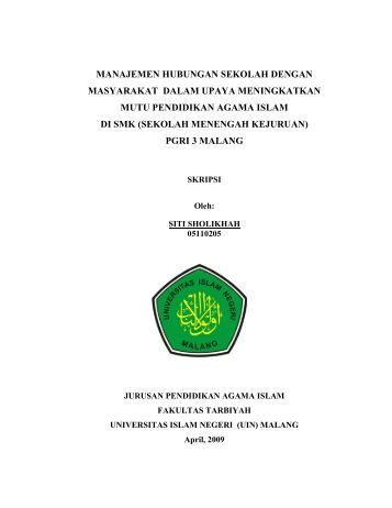 SITI SHOLIKHAH - Digilib UIN Malang