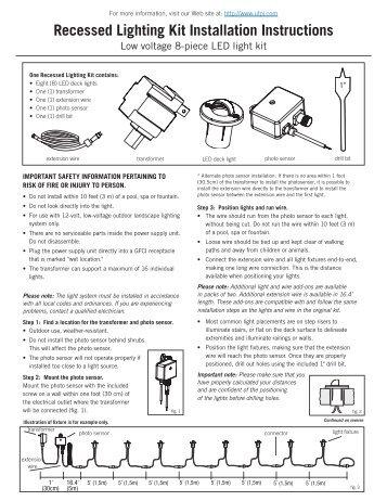 Recessed Lighting Kit Installation Instructions - Trilingual - Deckorators